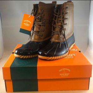 Duck Boots by Sporto Women's Tan/Navy 8.5 NITB